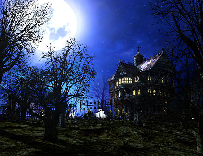 haunted house with moon trees reaching for sky