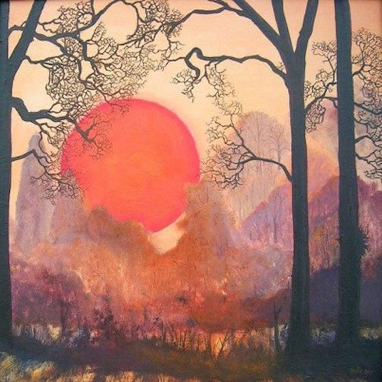 red shining sun over magical woods
