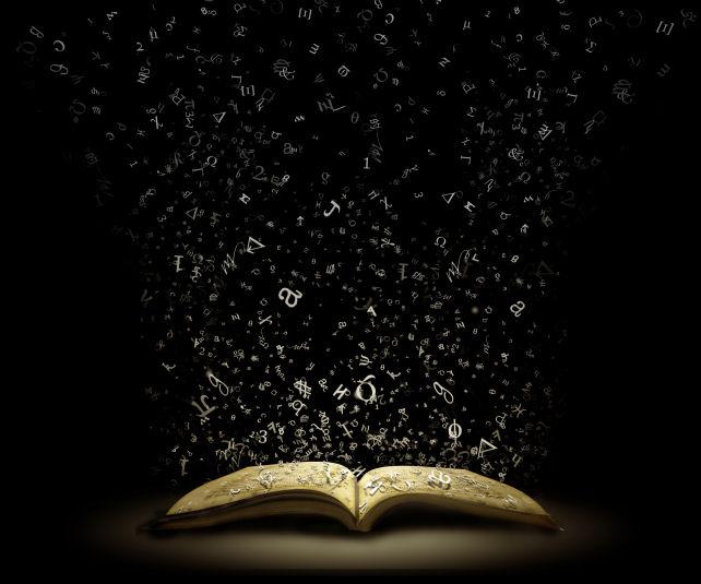 (1) book letters flying dark backround