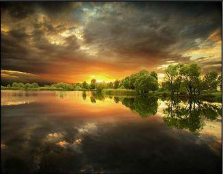 breathtaking sky reflects on water