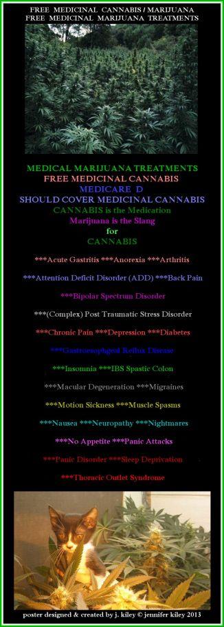 medicinal marijuana treatment poster by j. kiley (c) jennifer kiley 2013
