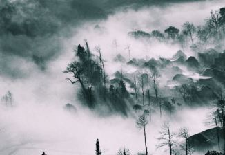 4 poster fog-clouds-houses-trees-landscape
