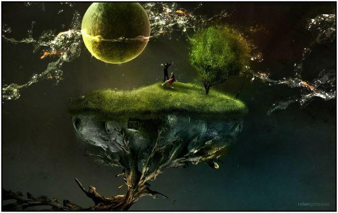 surreal green planet under water  by rolan gonzalez  812x512