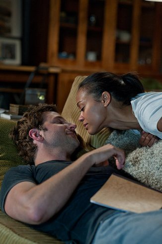 the words bradley and zoe saldana on couch