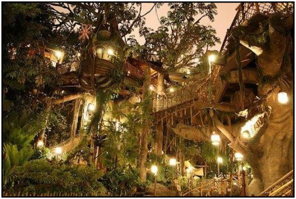 Awesome lighted treehouse on the estate of chateau de rocher  642x432