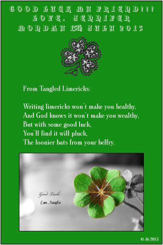 good luck my friend with limerick 4 leaf clover (c) Jk 2013