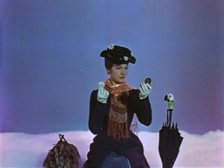 Mary-Poppins on cloud waiting for the call with carpet bag parrot umbrella