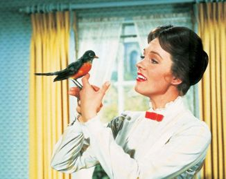 Mary-Poppins with robin on finger spoonful of sugar