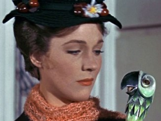 mp julie andrews with parrot umbrella talking