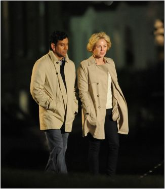 Naomi Watts on set as Princess Diana walking with Naveen Andrews   975x1118