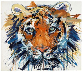 David-White painting of tiger touch abstract give to diana work on