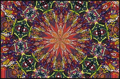 abstract rainbow snowflake by j. kiley (c) jennifer kiley 2013