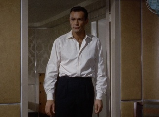 Marnie-sean connery shirt pants in mansion bedroom area