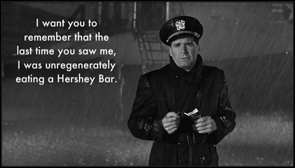 The Americanization of Emily charlie in the rain unregenerately eating a hershey bar