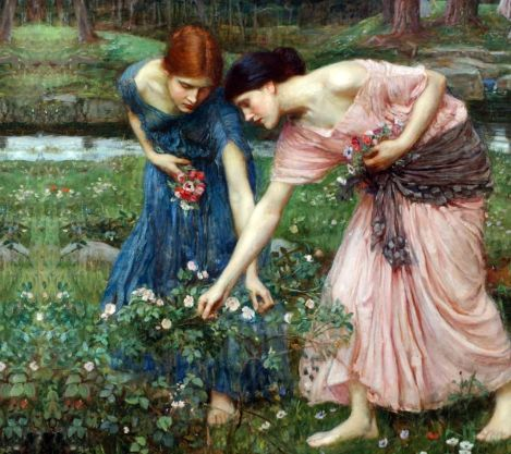 gather ye rosebuds while ye may [blue] artist john william waterhouse