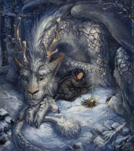 Snow Dragon with Woman --- Digital Art by Eyu Letsana. Borrowed from The Dragon of the Month Post of MacKenzie's Dragonsnest. See Below for the Link to you site and the Post the Snow Dragon is Featured.