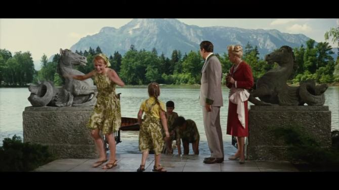 the sound of music all getting out of the water to meet the baroness