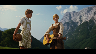 the sound of music maria w friedrich & guitar standing preparing to teach them singing