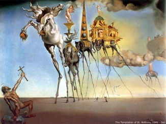 4 temptation-of-st-anthony-dali-1946  horse elephants on stilt legs