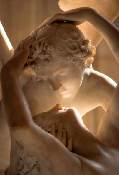 Closeup of Antonio Canovas Sculpture of Cupid and Psyche at Musee du Louvre in Paris France