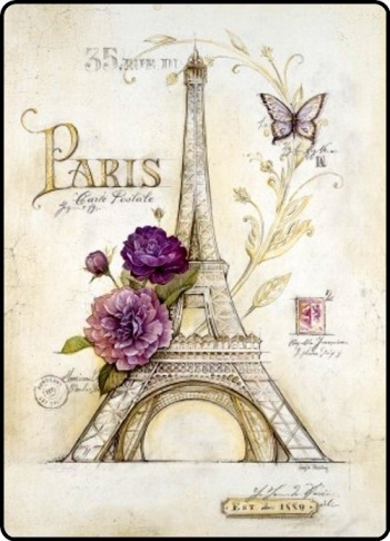 paris painting postcard  Eiffel Tower by Angela Staehling