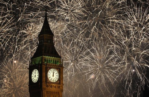 new-year eve big ben & golden fire works