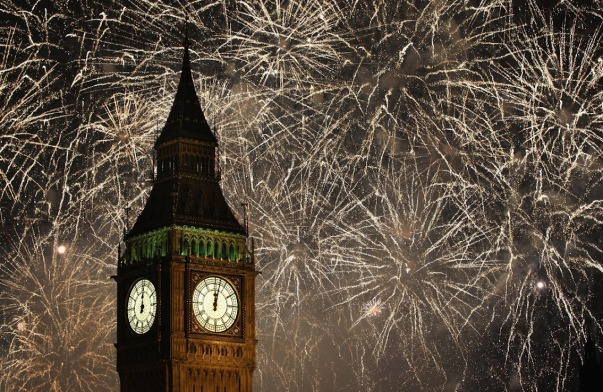 new-year eve big ben & golden fire works