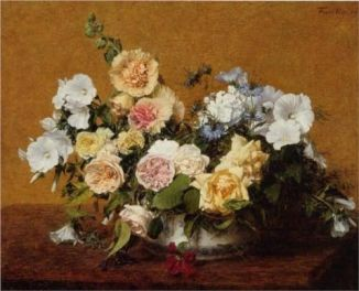 Bouquet of Roses and other Flowers - Artist Henri Fantin Latour