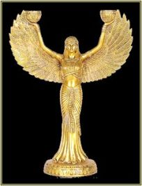 winged egyptian goddess isis blk bg