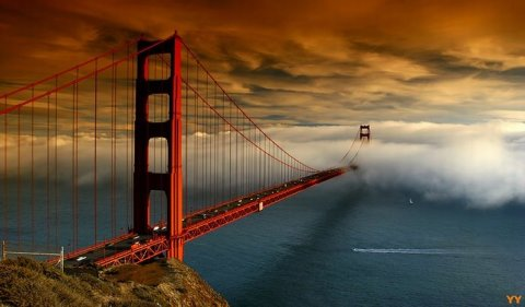 #60 golden gate bridge sunset into fog