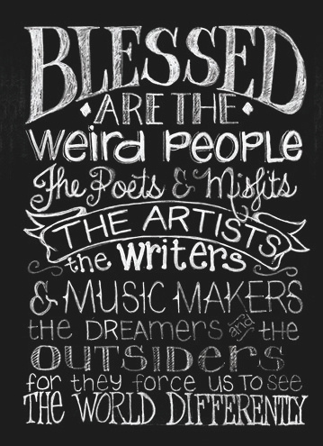 Blessed are the Weird by Melissa Frances – Blackboard Canvas Print