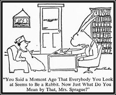 maggie the cat - james thurber - every body you look at seems to be a rabbit - rabbit is shrink