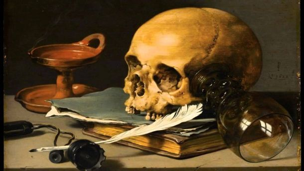 quill pen with skull & writer's notebook