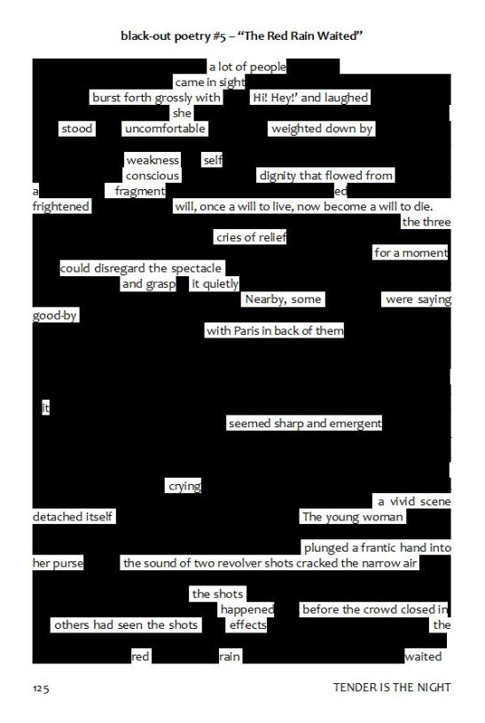 the red rain waited - blackout poem