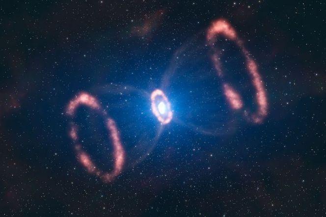 hourglass shaped supernova in progress