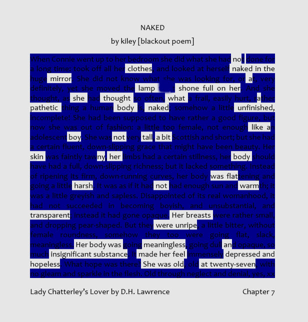 naked by kiley blackout poem from lady chatterley's lover
