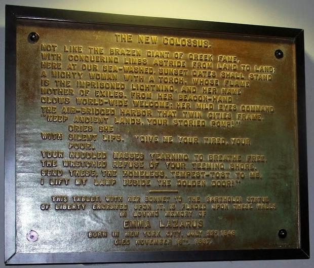 The New Colossus on bronze plague - poet Emma Lazarus